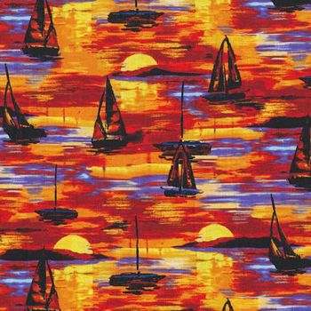 12099011 FAbri-Quilt Portofino - Sailboats at Sunset