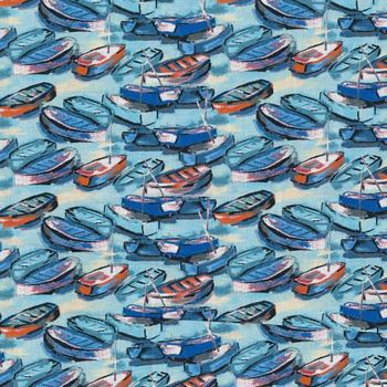 120-99042 Fabri-Quilt Portofino - Fishing Boats - Blue