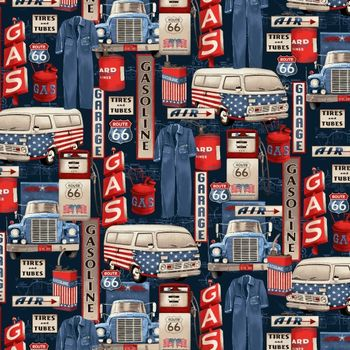 4313-77 Studio E All American Road Trip Gas Station Icons - Navy