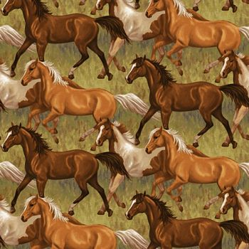 4385-36 Studio E Hold Your Horses Running Horses - Brown