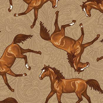 4388-33 Studio E Hold Your Horses Tossed Horses - Brown