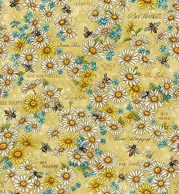 120-99201 Fabri-Quilt Bee Kind Flowers & Works - Gold