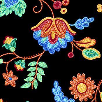 27344-J Quilting Treasures Beaded Blooms - Black