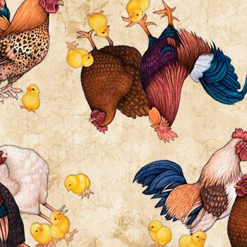 27418-E Quilting Treasures Sunrise Farms Chicken Toss - Cream