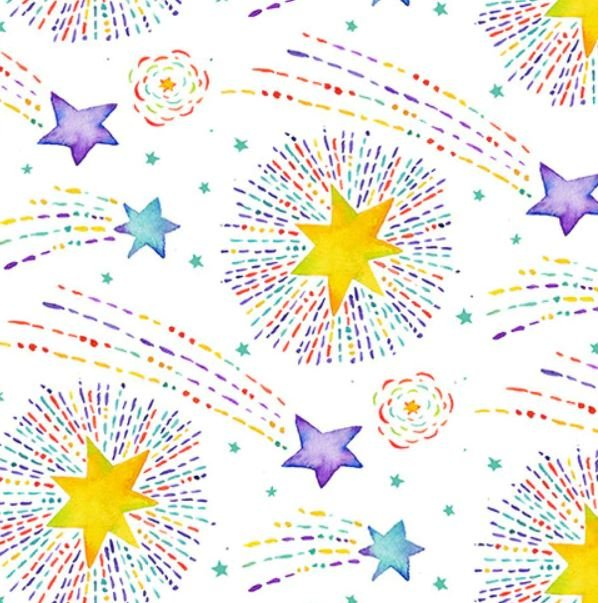 9308-4 - Henry Glass Stay Wild Moon Child - Shooting Stars - White/Multi