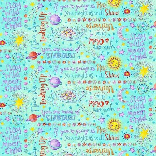 9310-11 Henry Glass Stay Wild Moon Child - Words - Aqua