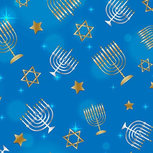 9947-50 - Kanvas Festival of Lights Menorahs & Stars - Hanukkah - Blue