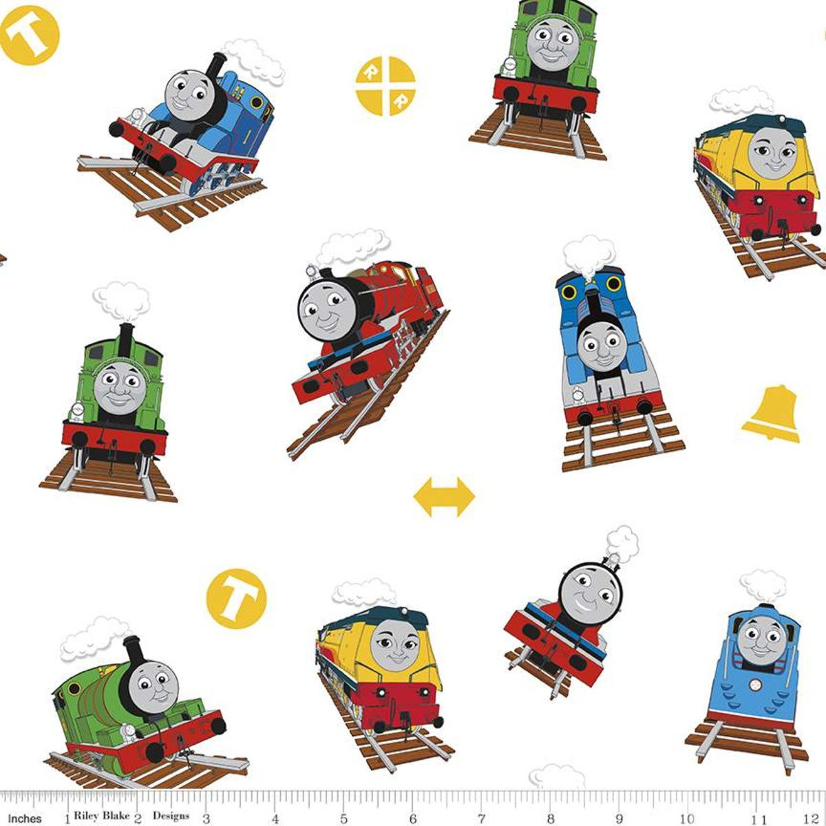 C11000-WHITE - Riley Blake Thomas and Friends - All Aboard Main - White