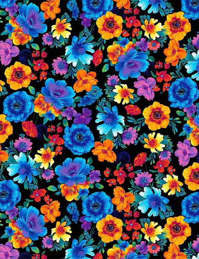 C8415-Black - Timeless Treasures Rainbow Tossed Flowers - Black/Multi Glow in the Dark