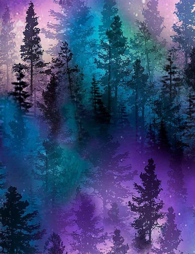 C8457-Purple - Timeless Treasures Aurora Trees - Purple