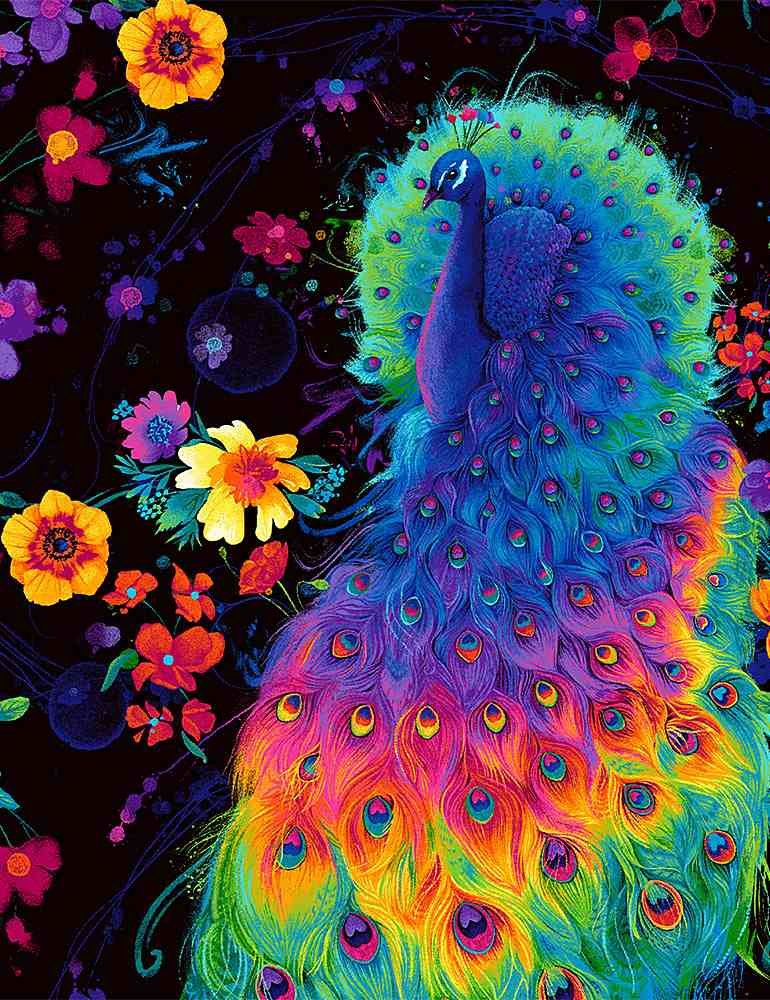 C8412-Black - Timeless Treasures Rainbow Peacock & Flowers - Black/Multi Glow in the Dark