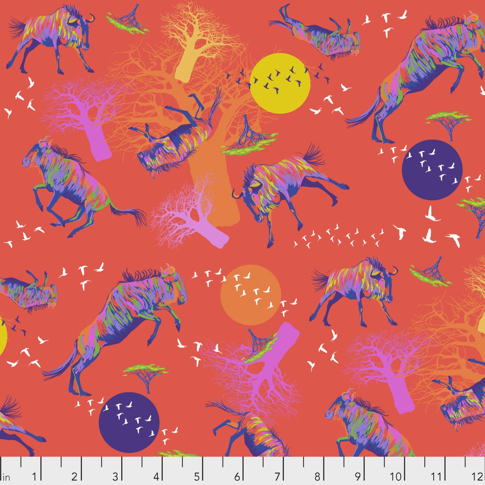 PWLT014.RED - Free Spirit Migration Widlebeests in Motion - Red/Multi