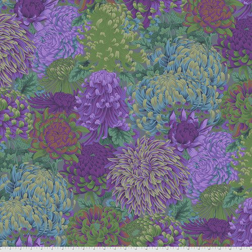 PWPJ107.GREEN - Hokusai's Mums - Green