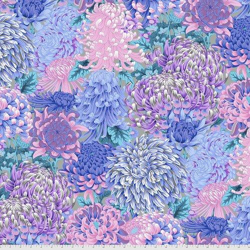 PWPJ107.GREY - Hokusai's Mums Grey