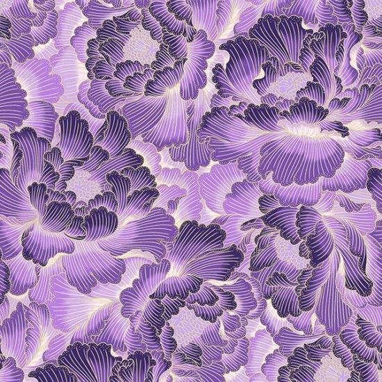 S7732-14G - Northcott Graceful Garden - Purple/Gold