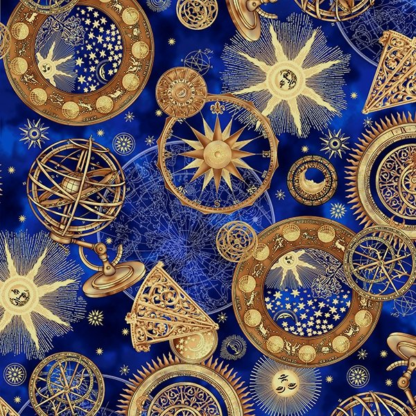 S7736-18G - Hoffman Cosmic Skies - Royal/Gold Metallic - Digital Print