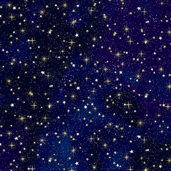 S7737-18G - Hoffman Cosmic Skies - Royal/Gold Metallic Digital Print