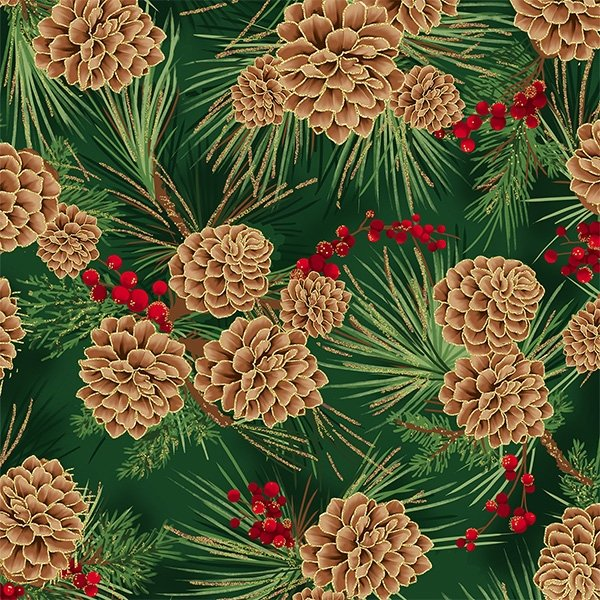 T7748-60G - Hoffman Joyful Traditions Pinecones - Hunter/Gold