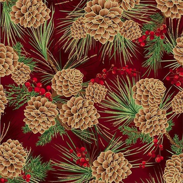 T7748-78G - Hoffman Joyful Traditions Pinecones - Scarlet/Gold