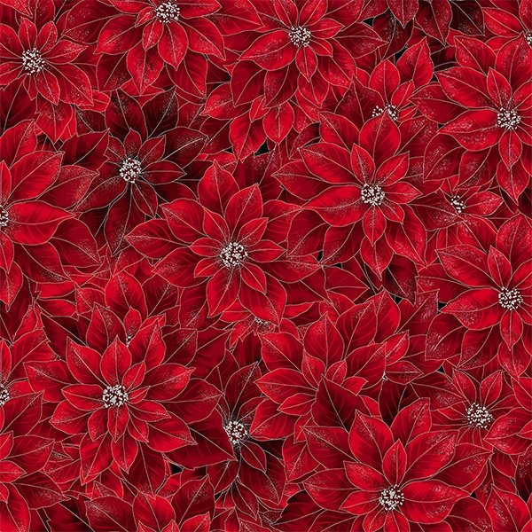 T7749-5S - Hoffman Joyful Traditions Poinsettia - Red/Silver