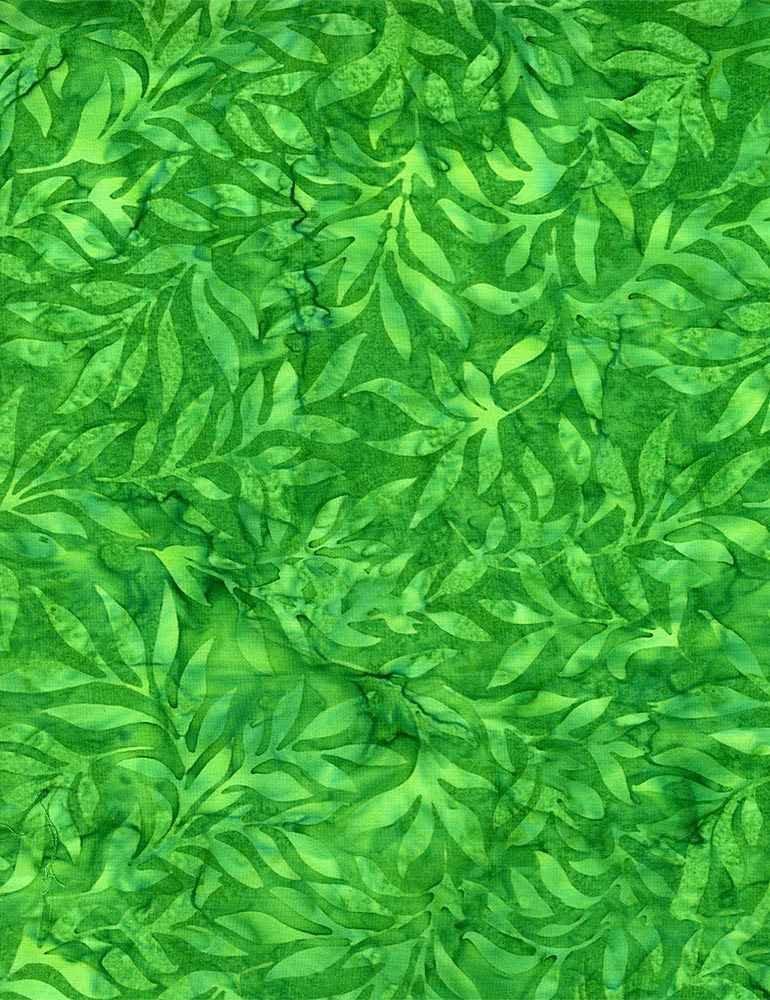 B8630-Green - Timeless Treasures Soothing Leaves Batik - Green