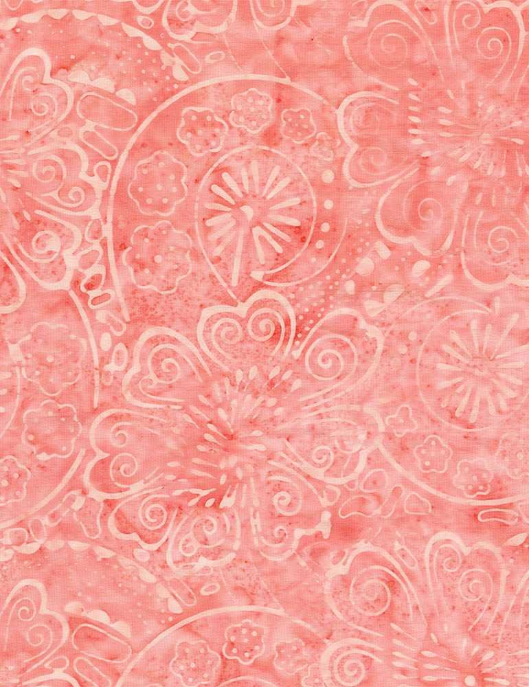 B8746-Melon - Timeless Treasures Batik Painted Flowers & Swirls - Melon