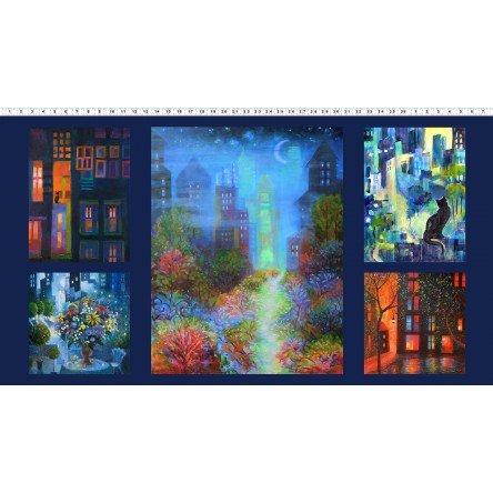 Y3094-55 - Clothworks City Lights 24 Panel - Digital Print