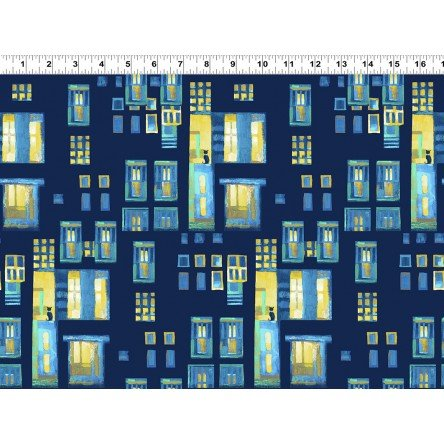 Y3096-126 - Clothworks City Lights Cats in Windows