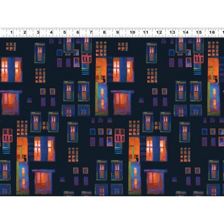 Y3096-40 - Clothworks City Lights Cats in Windows