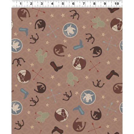 Y3107-14 Clothworks Hold Your Horses Ranch Toss - Brown