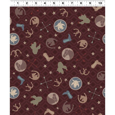 Y3107-15 Clothworks Hold Your Horses Ranch Toss - Dark Brown