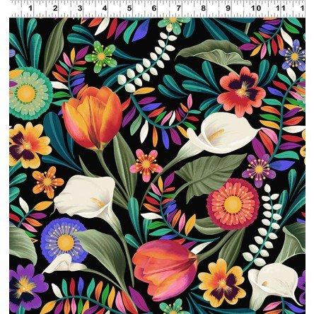 Y3130-2 Clothworks Colorido Festive Floral - Black/Multi