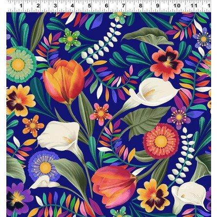 Y3130-92 Clothworks Colorido Festive Floral - Blue/Multi