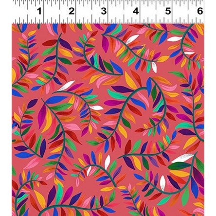 Y3133-40 Clothworks Colorido Leafy Vine - Pink/Multi