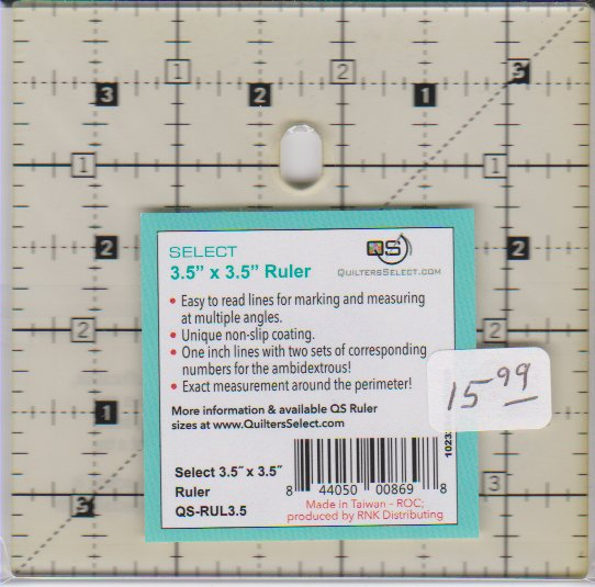 Quilters Select ruler 3½ square
