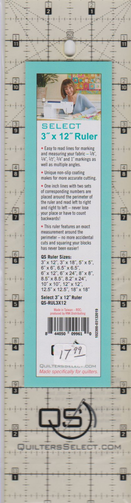 Quilters Select Ruler, 3 x 12
