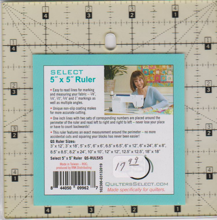 Quilters Select Ruler, 5 square