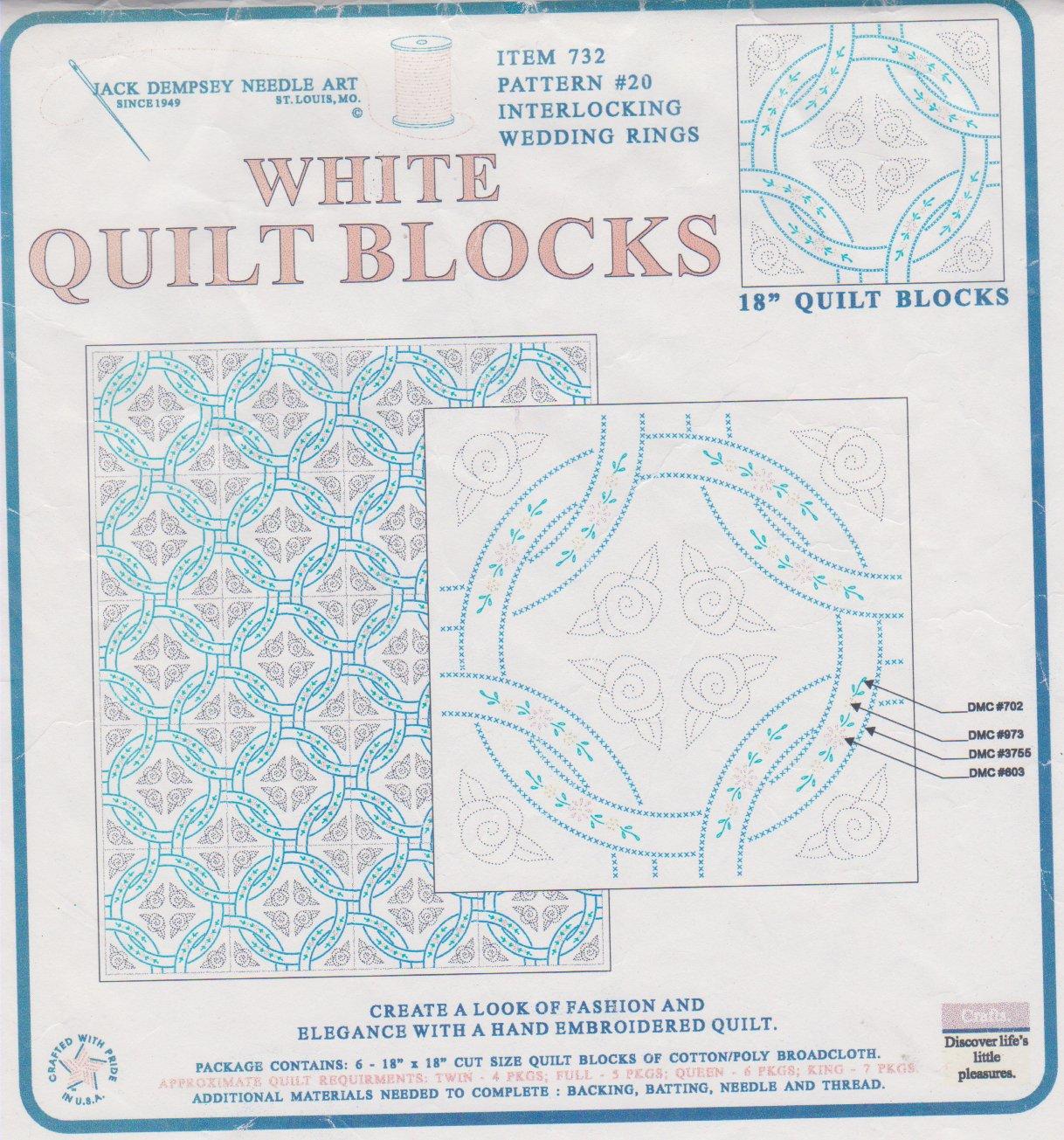 White quilt blocks, wedding rings
