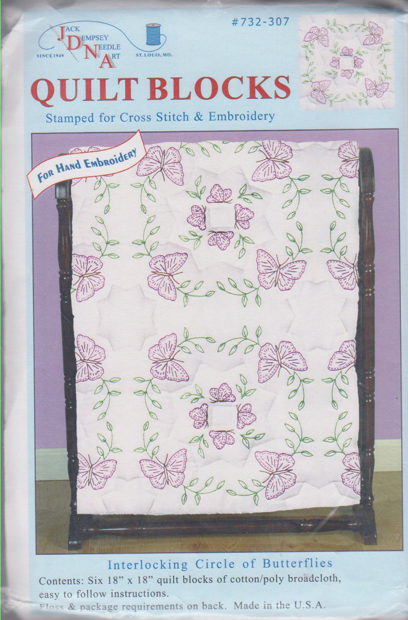 Jack Dempsey Needle Art-Quilt Blocks-Circle of Butterflies  732-307