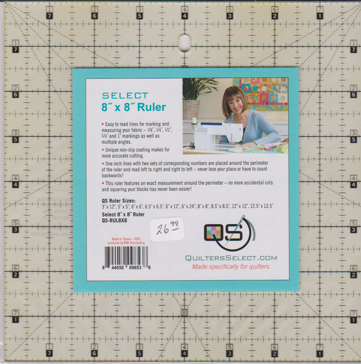 Quilters Select Ruler, 8 square