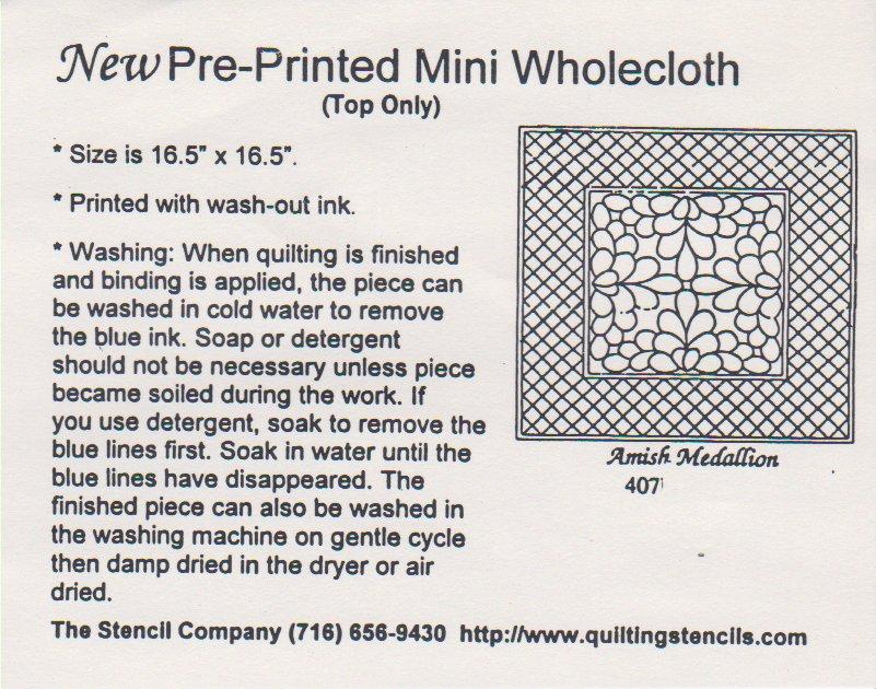 Mini Wholecloth Amish Medallion 407-Natural