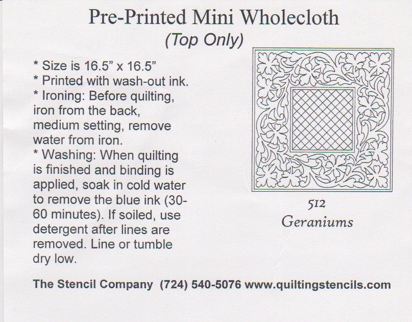Mini Wholecloth Geraniums  512-Oatmeal