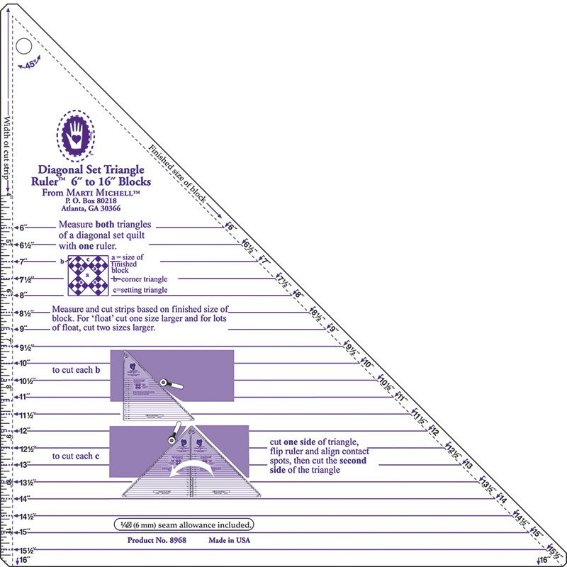 Diagonal Set Triangle Ruler 6in to 16in