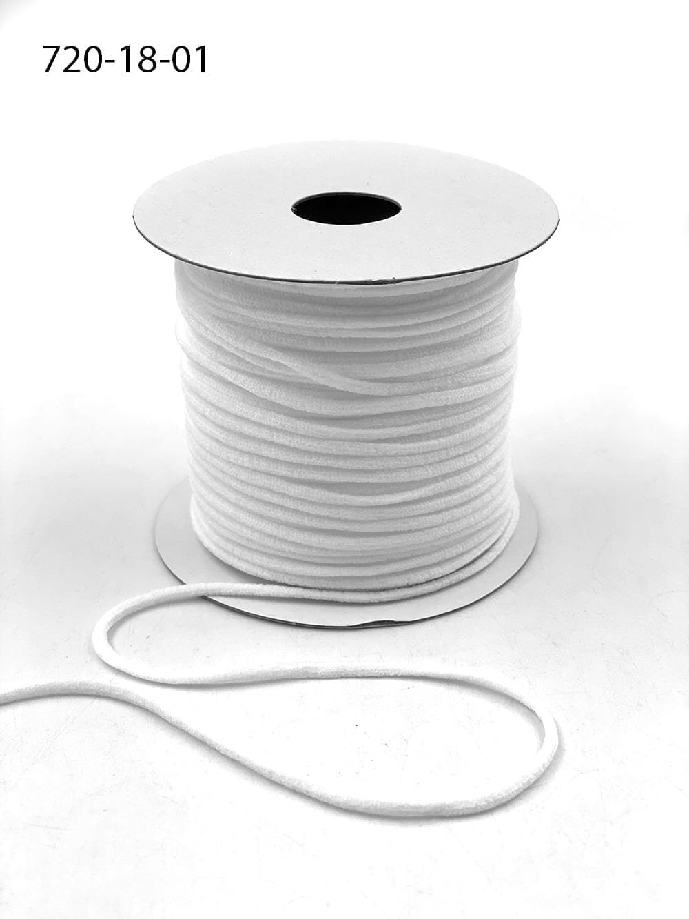 1/8  Nylon Round Elastic Cord - White - 50yd Spool