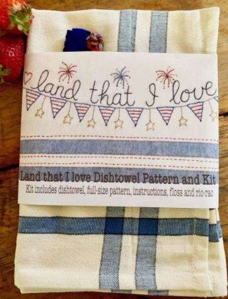 Land That I Love Dishtowel Pattern and Floss Kit