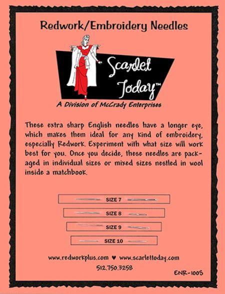 Redwork/Embroidery Needles Sampler Card