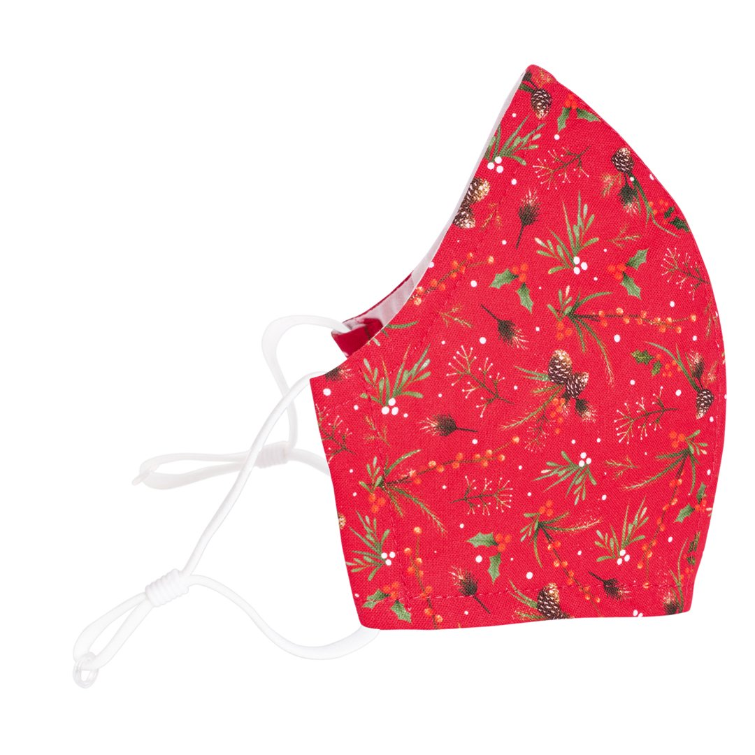 Reusable 3-layer Cotton Face Mask - Sprigs and Pinecones on Red