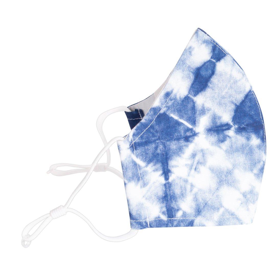 Reusable 3-layer Cotton Face Mask - Blue Shibori