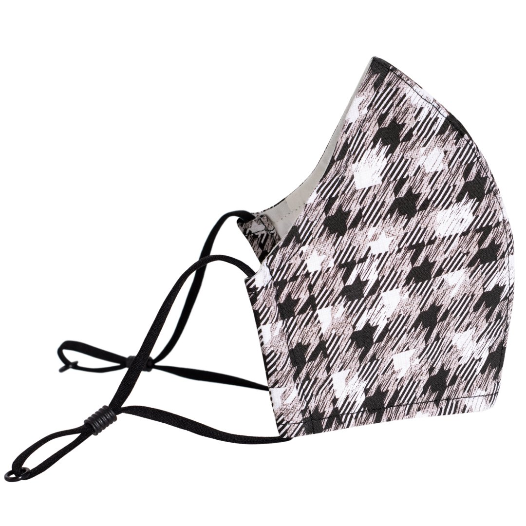Reusable 3-layer Cotton Face Mask - Houndstooth