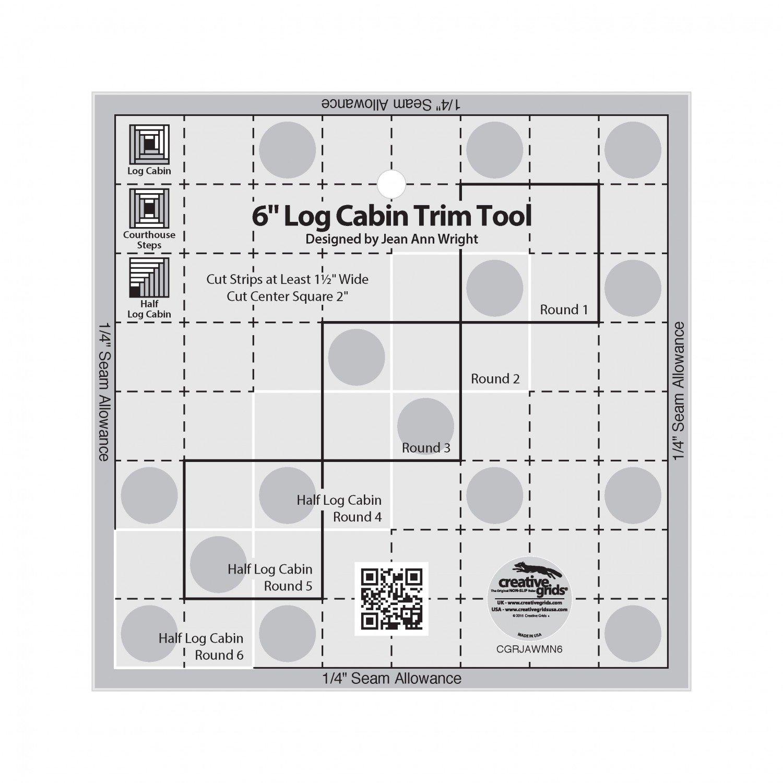 Creative Grids 6in Log Cabin Trim Tool Quilt Ruler